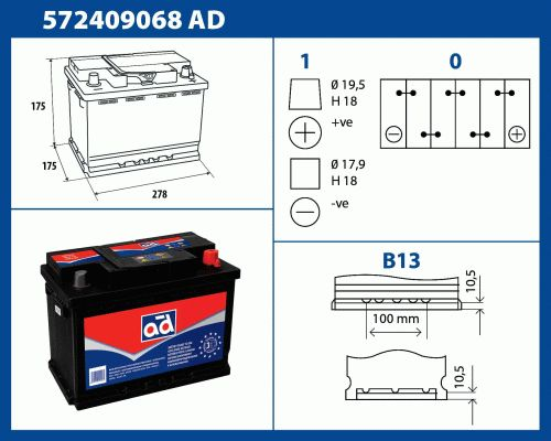 Ad akumuliatorius 72Ah 680A